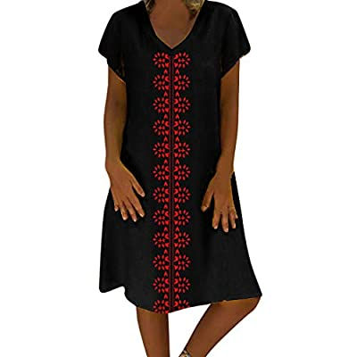 OTINICE Women Plus Size Short Sleeve T-Shirt Dresses Cotton Linen Loose Vintage Dress from OTINICE