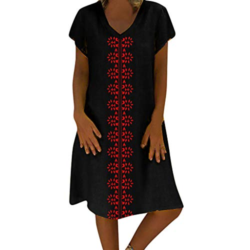 Sunhusing Women's Summer Cotton Linen Print V-Neck Short Sleeve Dress Loose Casual Boho Long Maxi Dress Black
