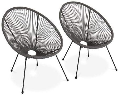 Fauteuils 4 Pieds Design r/étro Alices Garden Lot de 2 fauteuils Design Oeuf Acapulco Taupe int/érieur//ext/érieur Cordage Plastique