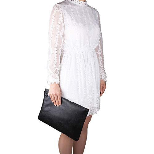 Aladin Oversized Clutch Bag Purse, Womens Large leather Evening Wristlet Handbag ()