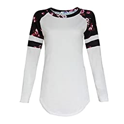 Sinfu MoKingTop Women Blouse Tee Shirt Floral Splice Printing Long Sleeve Round Neck Pullover Tops (US:6)