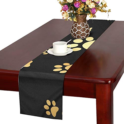 WUTMVING Dog Gold Paw Prints Table Runner, Kitchen Dining Table Runner 16 X 72 Inch for Dinner Parties, Events, Decor
