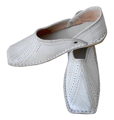 KALRA Creations Herren Traditionelle indische Leder Hochzeit Schuhe Weiß