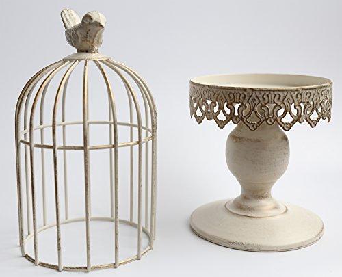 Berry President® Handmade Metal Candleholder Vintage Home Decorative Table Floor Tall Birdcage Candle Holder Centerpiece for Wedding 14.1'' (White) (Birdcage Decor)