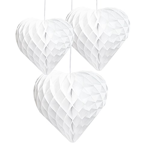 Talking Tables Decadent Decorations White Mix Size Honeycomb Hearts (3 Pack), Multicolor -