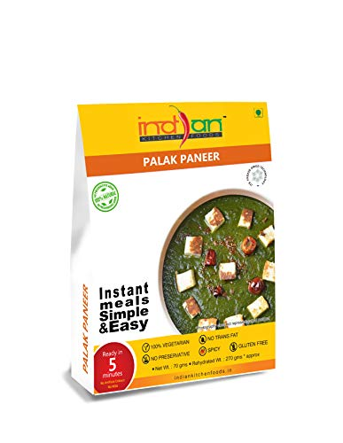 Indian Kitchen Foods Spinach with Cottage Cheese and Sauce (Palak Paneer) - Freeze Dried Gluten-Free Gourmet Indian Entree Ready in 5 min Vegetarian Meal, 9.50 oz
