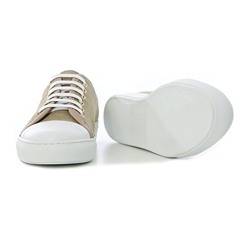 Sneakers Uomo in Pelle Scamosciata Beige Stringata di Colore Sabbia Scarpe Sportive Uomo Sabbia Sneakers Leather Beige Made in Italy