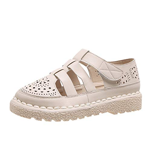 - HIRIRI Women' Casual Flat-Bottom Hollow-Out Solid Color Hook & Loop Sandals Summer Beach Sandals Beige