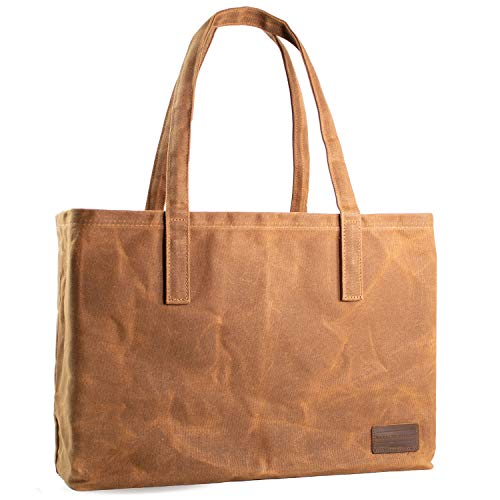 Hawkins Hill Reusable Tote Bag, Waxed Canvas, Grocery Shopping Bag, Large, Heavy-Duty, Foldable, Eco-Friendly, Brown