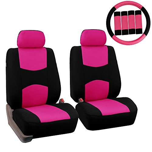 99 Mitsubishi Eclipse Convertible - FH Group FH-FB050102 Pair Set Flat Cloth Car Seat Covers W. FH2033 Steering Wheel Cover & Seat Belt Pads, Pink/Black- Fit Most Car, Truck, SUV, or Van