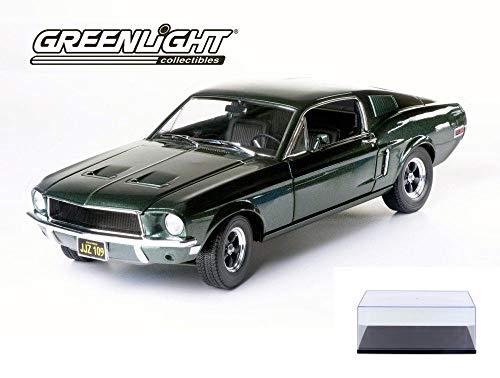 Diecast Car & Display Case Package - Steve McQueen Bullitt 1968 Ford Mustang GT, Green - Greenlight 12822 - 1/18 Scale Diecast Replica w/Display Case