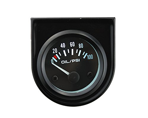(Ambuker 0-100 PSI Mechanical Oil Pressure Gauge meter with LED for Auto motorcycle)