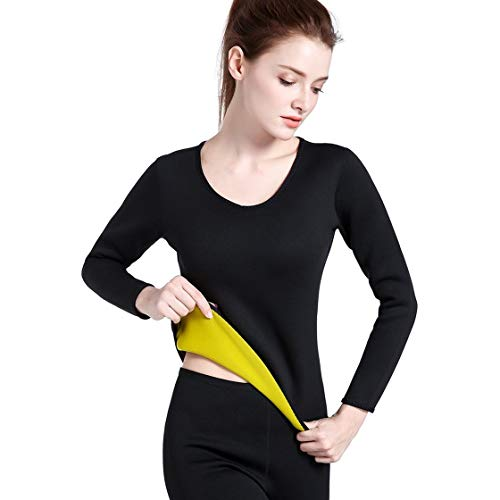 Snellente Donna Sportivo Lunghe Running Sportswear Shaper Abbigliamento Black Sweat Fitness l Body Training amp; In Hot Gym Top Blackpjenny Shirt Maniche Neoprene Yellow nOxw58P6Aq