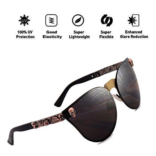 Eye sol Skull HD reflectante de con Decoration tamaño ATNKE Cat Marco Gafas Moda para de Mujeres de PC gran Hombres Gafas Protección Lente UV400 Gris Metal qxXUfE
