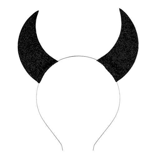 Daisyu Girls Devil Horn Halloween Headband Costume Cat Ear Headband (Black)]()