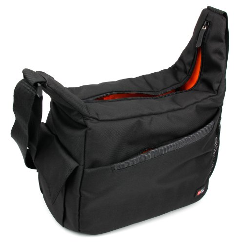DURAGADGET Durable Shoulder 'Sling' Bag in Black & Orange - Compatible with The Sainlogic Action cam 4k