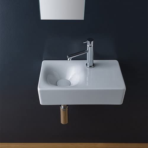Scarabeo 1501-One Hole Soft Rectangular Small Ceramic Wall Mounted//Vessel Sink Small White