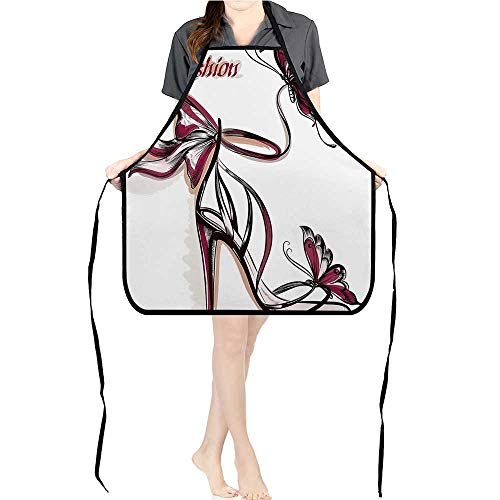 (Jiahong Pan Adult Apron Waitresses Apron High Heels Butterfly and Ornamentals Be Grace Sprucen Theme Pink Cooking Kitchen Aprons for Women MenK26.6xG27.6xB10.2 )