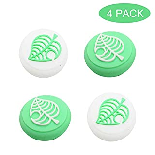 BRHE Thumb Grip Caps for Nintendo Switch/Switch Lite Controller,Joy-Con Joystick Caps Analog Stick Caps Joy Con Joystick Silicone Rubber Cover Set 4 Pack (Green Leaves)