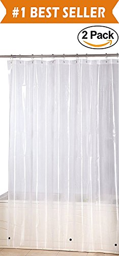 Elegant Comfort Water-Repellent Antibacterial and Mildew Resistant Heavy-Weight Waterproof Clear Shower Curtain Liner, 72