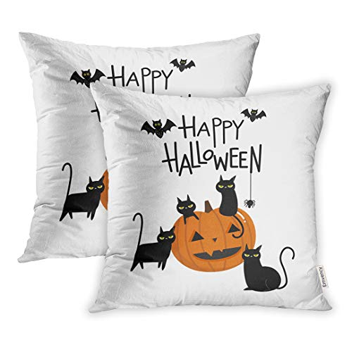 Emvency Set of 2 18x18 Inch Throw Pillow Covers Cases Orange Cute Happy Halloween Pumpkin and Black Cat Cartoon Character Party Costume Case Cover Cushion Two Sided]()