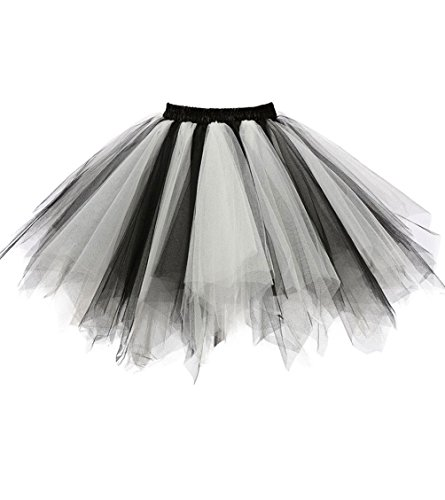Dresstore Women's Short Vintage Petticoat Skirt Ballet Bubble Tutu Multi-colored Black-White XXL