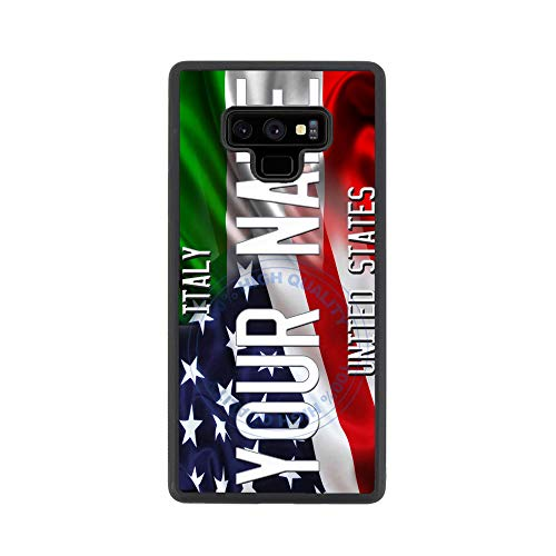 BRGiftShop Customize Your Own Mixed USA and Italy Flag Rubber Phone Case for Samsung Galaxy Note 9