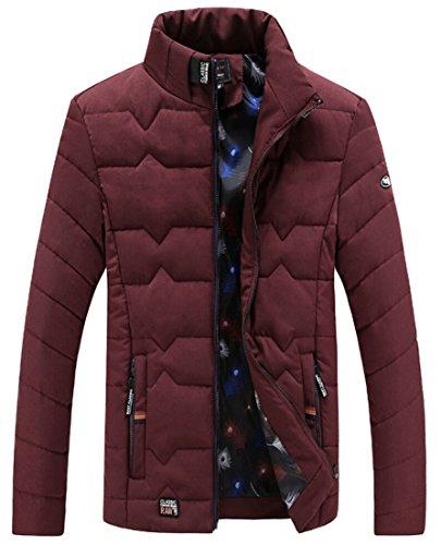 Gocgt Men Warm Cozy Zip up Stand Collar Long Sleeve Down Coat Red