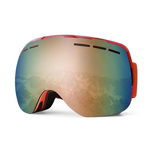 Ski Goggles, Wallfire Snowboard Goggles With Anti-Fog 100 Uv Protection Over Eye Glasses Design Snow Goggles Interchangeable Spherical Dual Lens For Men Women Ski - Rimless Goggles