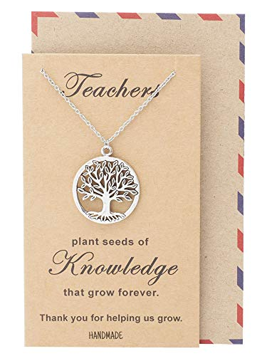Quan Jewelry Tree of Life Pendant Necklace with Thank You Greeting Card, Teacher's Day Appreciation Gifts (Best Present For Teachers Day)