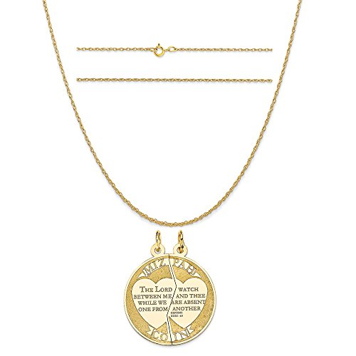 14k Yellow Gold Mizpah Charm on a 14K Yellow Gold Carded Rope Chain Necklace, 16