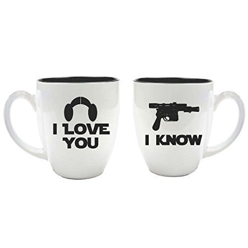 Star Wars Inspired Bride & Groom White Ceramic Coffee Mugs - Set of 2 - I Love You I Know - 16 oz - Personalized Custom Engraved Couple Gift