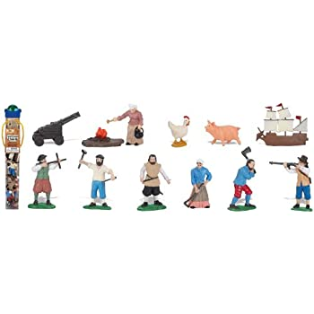 Safari Ltd Jamestown Settlers TOOB with 12 Fun Figurines, Including Sailor with Navigational Device, Blacksmith, Settler with Musket, Settler Workman with Axe, John Smith, Female Settler Gardening, Female Settler Cooking, Chicken, Pig, Cannon, and Tall Chip.