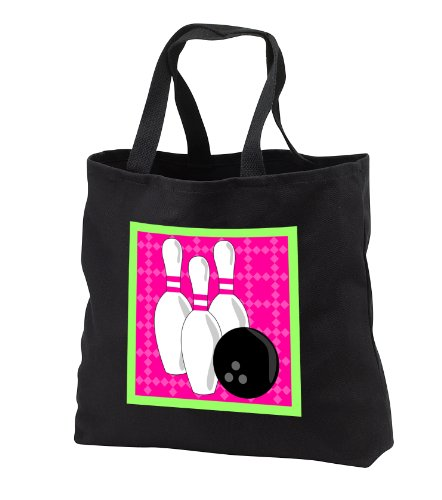 Janna Salak Designs Bowling - Pink and Green- Bowling Pins and Ball - Tote Bags - Black Tote Bag JUMBO 20w x 15h x 5d - Shopping Green Bowling