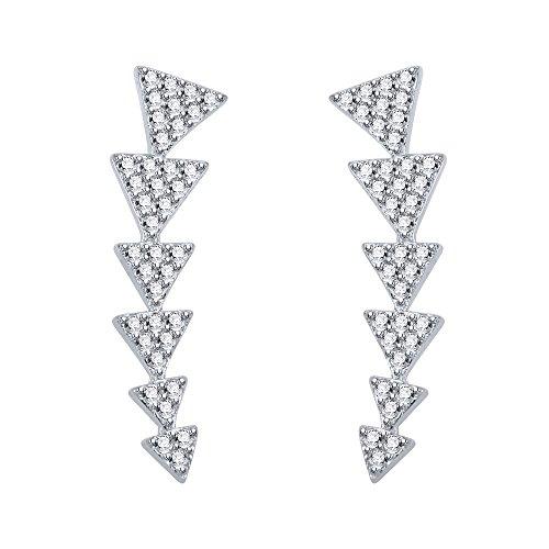 Multi-Triangle Ear Climbers Stud Earrings CZ 925 Sterling Sliver Ear Crawler Cuffs Earrings for Women (Style 1)