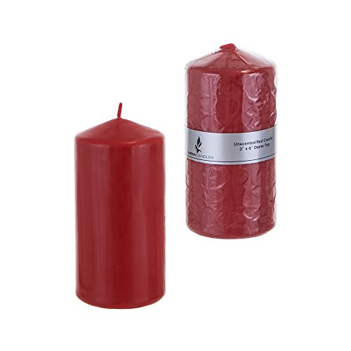Mega Candles - Unscented 3 x 6 Round Pillar Candle - Red
