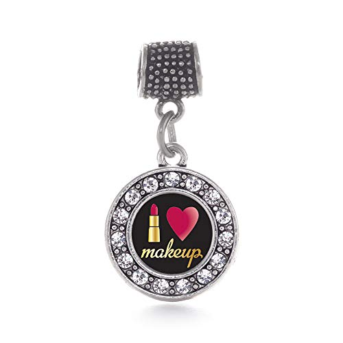 Inspired Silver - I Love Makeup Memory Charm for Women - Silver Circle Charm for Bracelet with Cubic Zirconia Jewelry Circle Of Love Charm