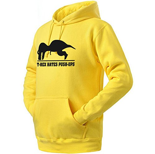Ptarmigan T-Rex Hates Pushups Funny Work Out Unisex Hoodie (Yellow,XS) -