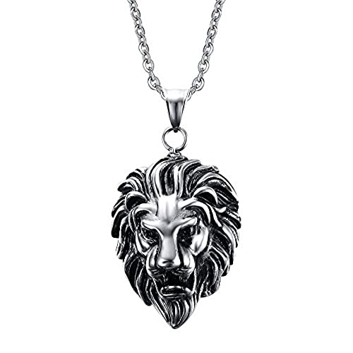 Lions head necklace amazon stainless steel lion head pendant necklace aloadofball Choice Image
