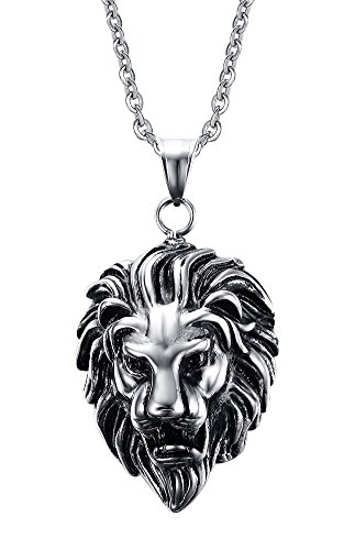 VNOX Stainless Steel Lion Head Pendant Necklace