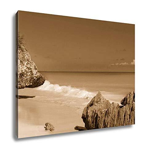 Ashley Canvas Tulum Beach Near Cancun Turquoise Caribbean, Home Office, Ready to Hang, Sepia 20x25, AG5947555