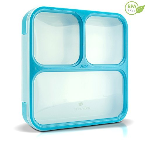 MUNCHBOX Bento Lunch Box - Sleek Edition (Blue) Ultra-Slim Tray Style Leakproof 3-Compartment with Air Tight Seal - Prevents Contents from Mixing and Spilling - Microwavable - Dishwasher Friendly - For Kids & Adults -