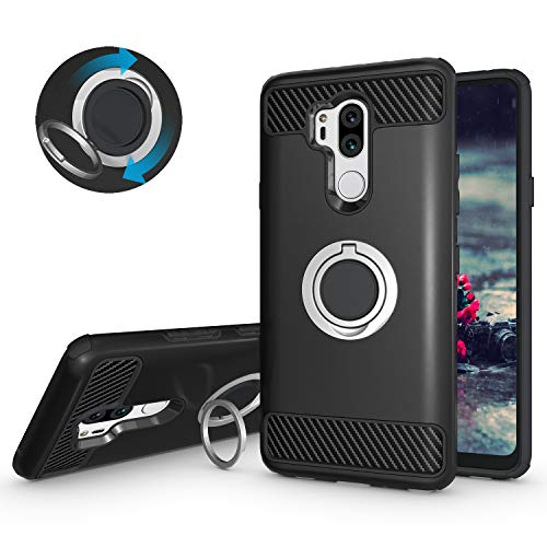 Price comparison product image LG G7 ThinQ Case,LG G7 Case,Setber Armor Dual Layer 2 in 1 with Heavy Duty Protection and Metallic Finger Ring Holder Kickstand Fit Magnetic Car mount for LG G7 ThinQ -Black