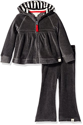 Burt's Bees Baby Baby Girls' Hoodie and Pant Set -Charcoal Heather-12 Months