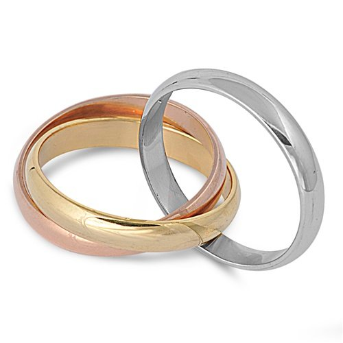 Tri-color Gold, Rose, Silver Tone Interlocked Rolling Rings Stainless Steel Band Ring Size 6-11 (Band Tri Color Rolling Ring)