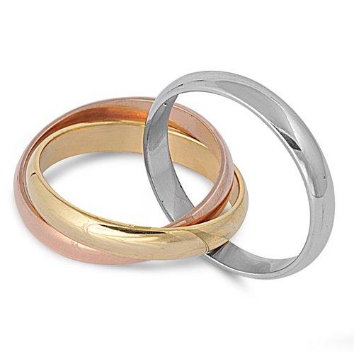 Amazoncom Tricolor Gold Rose Silver Tone Interlocked Rolling