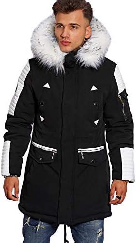 herren winterjacke parka mit fellimitat jacke mantel ph-019