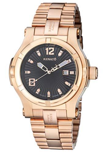 New Big Mens Renato T-Rex Swiss ETA 2824 Automatic 25 Jewel 50mm Rose Gold Watch