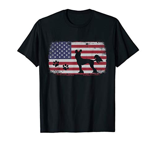 Vintage American Flag Chinese Crested Dog T-Shirt