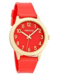 Ferenzi Women's | Fun Red on Red Watch with Gold-Tone Case and Gloss Strap | FZ15604